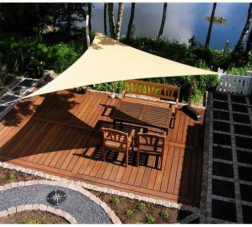 Bakaji – Toldo triangular de 3, 6 metros para patio, terraza, jardín o piscina, con protección UV. Anti rasgado. Color crema + Kit de montaje: Amazon.es: Jardín