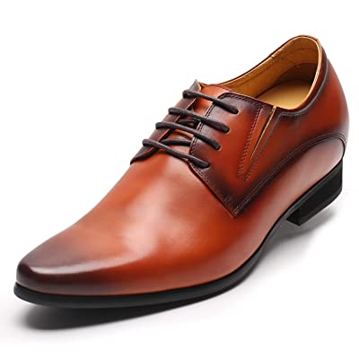 CHAMARIPA Men's Elevator Shoes Formal Height Increasing Dress Shoes Brown Derby Shoes 3.15 Inches H62D11K019D | Oxfords