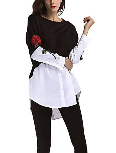 T Shirt Donna Manica Lunga Rotondo Collo Eleganti Cucitura Camicia Fake Due Pezzi Vintage Applique R...