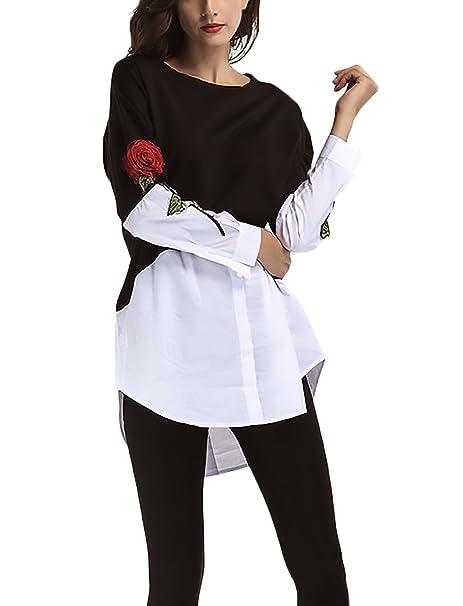 ... Tops Bordadas De Flores Cuello Redondo Asimetricas Patchwork Largas Blusones Invierno Otoño Anchas Informal Joven Blusas T Shirt: Amazon.es: Ropa y ...