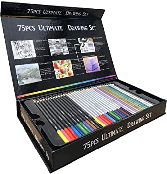 UZZHANG Pintura Color Plomo Profesional Adulto Libro Caja Dibujo Papelería 75 Piezas Color Lápiz Conjunto: Amazon.es: Electrónica