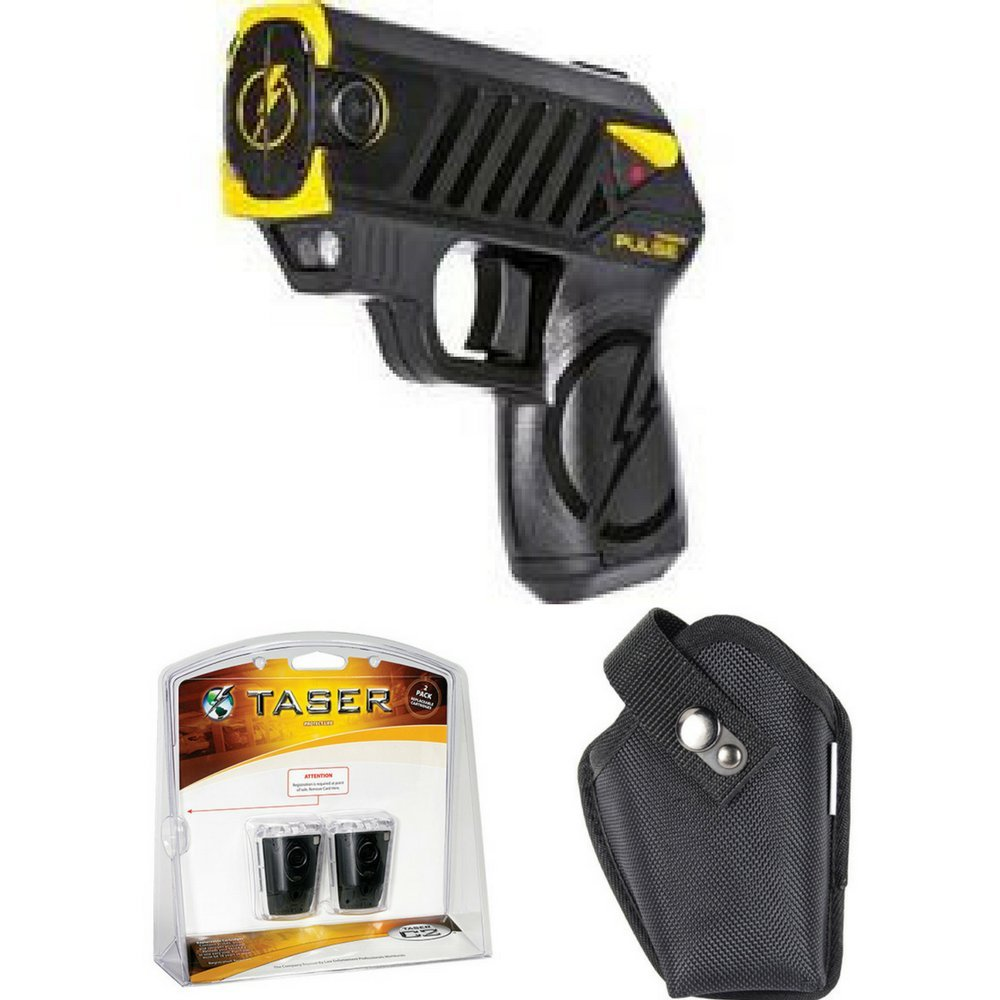 Taser Pulse With 2 Live Cartridges - Black, Taser Pulse Nylon Holster w/ Strap and Taser Bolt & Pulse Two Pack of Live Cartridges by Taser