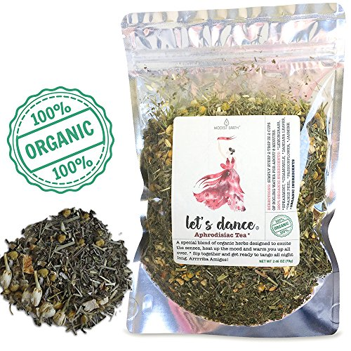 - Modest Earth Let's Dance Tea | 100% ORGANIC Natural Aphrodisiac Herbal Remedy | DAMIANA Couple's Love Drink | ROMANTIC Date Night, Anniversary, Birthday Gift for Him/Her | 48+ SERVINGS (2.46 OZ)