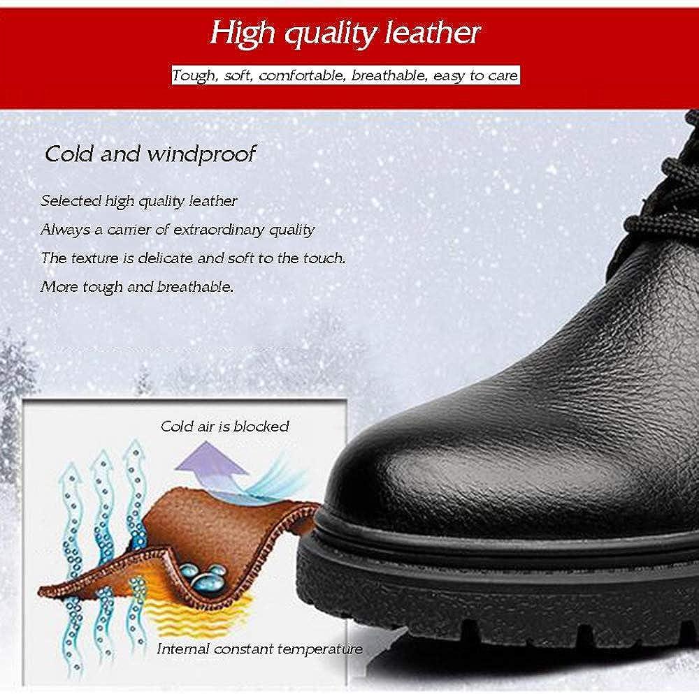 Chaussures d'hiver pour Hommes Bottes Martin Épaissir Cuir Chaud Extérieur Bottes De Randonnée Trekking à Lacets Brown