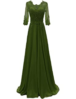 9bc3c44db6b OYISHA Women s 1 2 Sleeve Lace Beaded Formal Evening Dress with Sleeves  Long Mother of