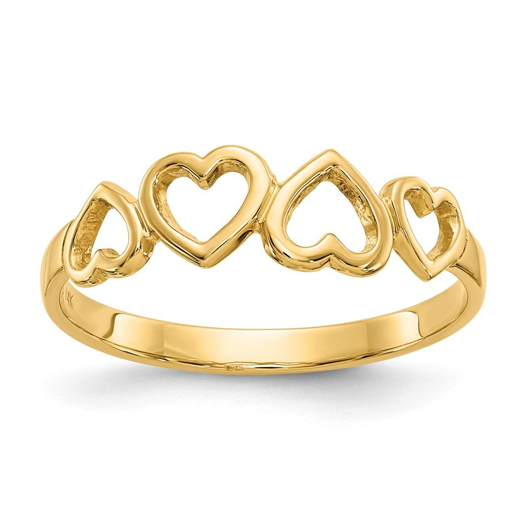 ICE CARATS 14k Yellow Gold Heart Band Ring Size 6.00 S/love Fine Jewelry Gift Set For Women Heart