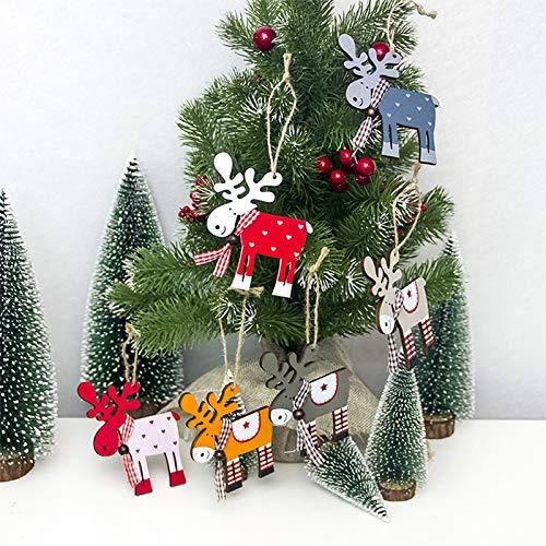 10cm Hosaire 1x Colgante Decoraci/ón de Navidad Alce Azul Oscuro de Madera Adornos de Navidad Lindo Decoraciones Colgantes para Fiesta Size 9