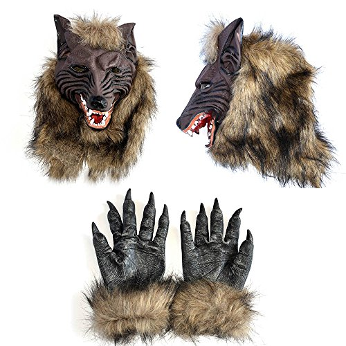 Cabin Boy Costumes (IRQ Halloween Wolf Masks Werewolf Mask and Gloves Hands for Adults Kids Scary Cosplay Costume Party Latex)