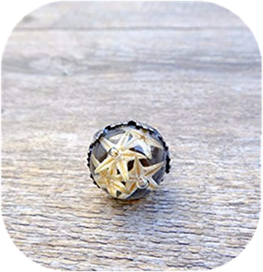 Estrella de mar anillo, globo de cristal anillo, resina joyas, Mar terrario