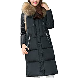 Pingora Women's Long Down Puffer Coat With Fur Hood With 90% Down Parka (S, Black)