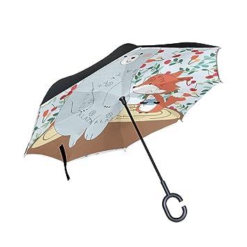 ALAZA Doble Capa invertido Paraguas Paraguas Coches inversa Lindo Oso Prueba Fox a Prueba de Viento