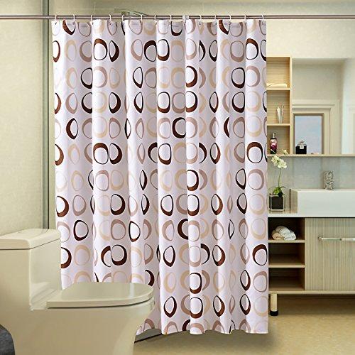 ENNAS Circle Print Fabric Bathroom Shower Curtain Geometric Midrew Resistant & Water Repellent With 12 pcs Plastic Hooks