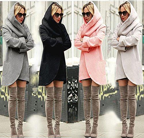 Moda Inverno Hoodie Autunno Basic Donna Giacca Bianca Casuale Cappotti Cappuccio Con Minetom Cardigan Cappotto Jacket Parka vzOxO