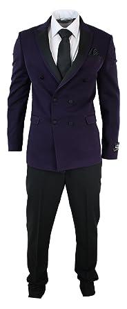 wesen Costume Smoking croisé Homme Violet Prune Pantalon Noir Coupe cintrée 31342d28238