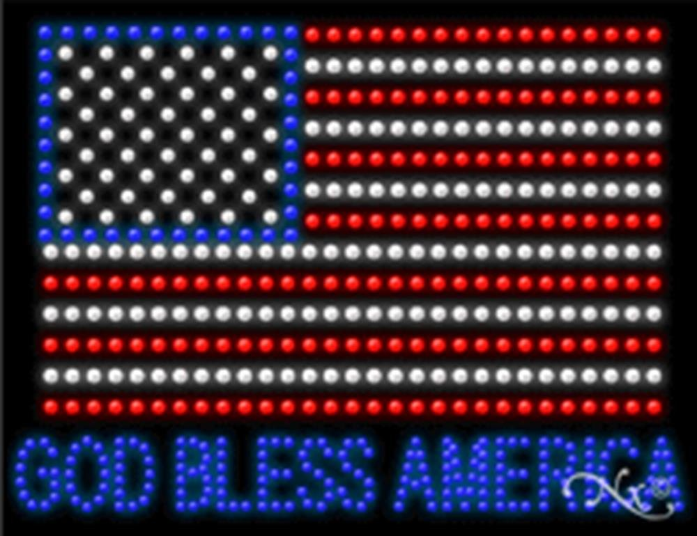 26x20x1 inches God Bless America Animated Flashing LED Window Sign by Light Master