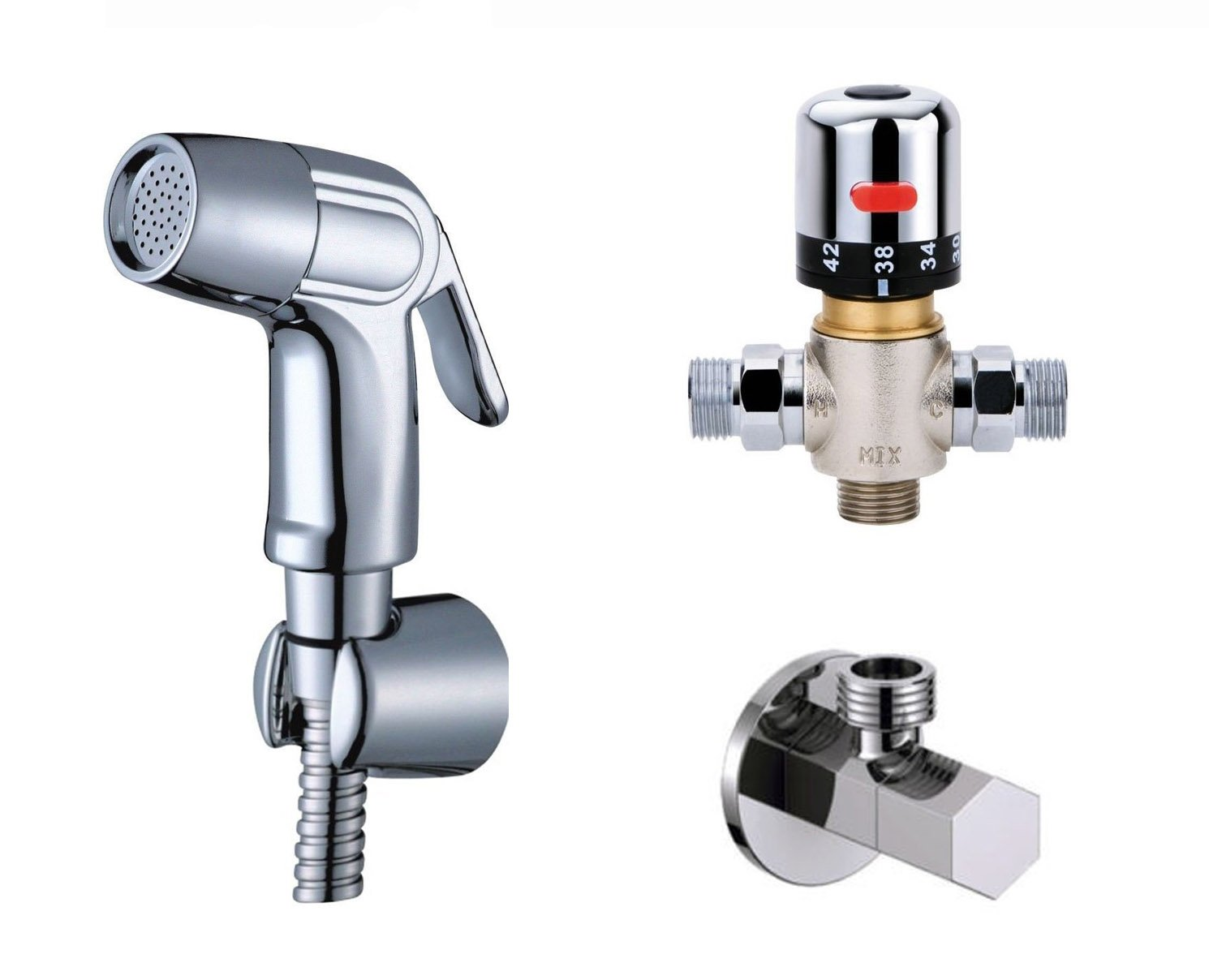 Ownace Bath Toilet Wall Mounted Thermostatic Mixer Valve Handheld Bidet Sprayer Shower Head Douche kit Set by Ownace