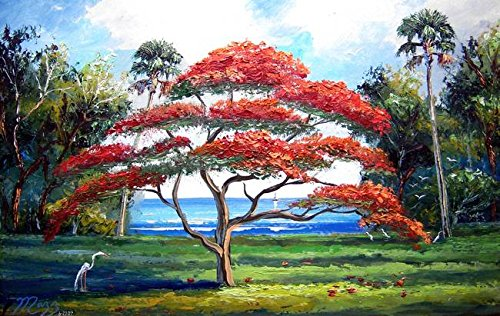 Imagekind Wall Art Print entitled Red Royal Poinciana Tree by Mazz Original Paintings | 32 x 20 - Outsider Art Original Painting