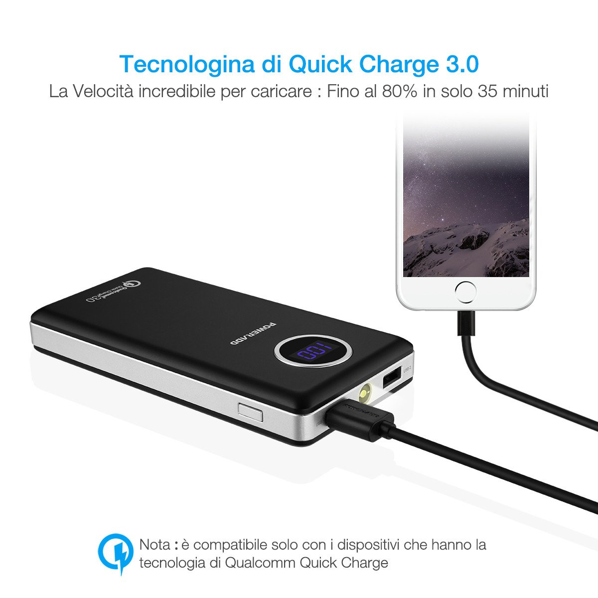 POWERADD【Qualcomm Quick Charge 3.0】Batteria Portatile 20100mAh Doppia Uscita Con LED Display e la torcia per iPhone,smartphone e tablet (Micro USB Cavo è incluso)