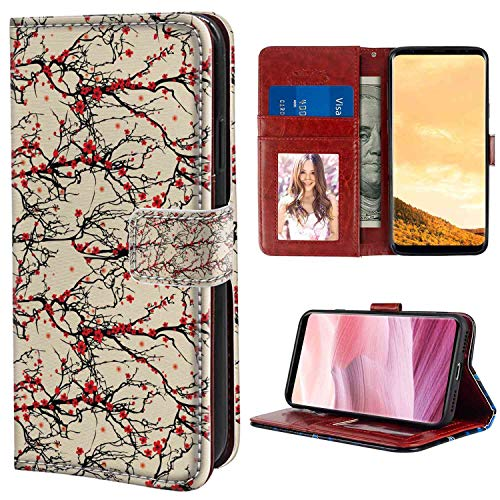 (Samsung Galaxy S8 Plus Wallet Case, Cherry Blossom Vivid Japanese Garden Tree Branches Asian Nature Inspired Ornaments Beige Scarlet Black PU Leather Folio Case with Card Holder and ID Coin Slot)