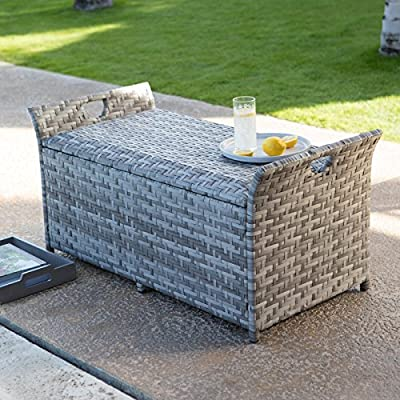 Gray Finish Resin Wicker Deck Storage Box Patio Storage Bench Seating