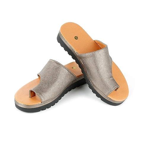 Zapatos de Plataforma cómodos,Mujer Zapatos Sandalias planaspara los juanetes,Sandalias de Mujer de Cuero de PU para Zapatos de Viaje de Playa de Verano: ...