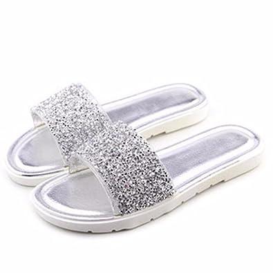 4da99b07f YFF Summer Bling Flat Sandals Women Solid Glitter Slides Slippers Beach  Casual Women Shoes Slip On