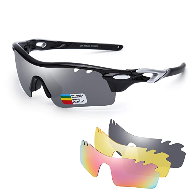 26d1b932b06 JIM HALO Polarized Sports Sunglasses for Men Women UV400 Protection Cycling  Running Fishing Glasses 3 Interchangeable