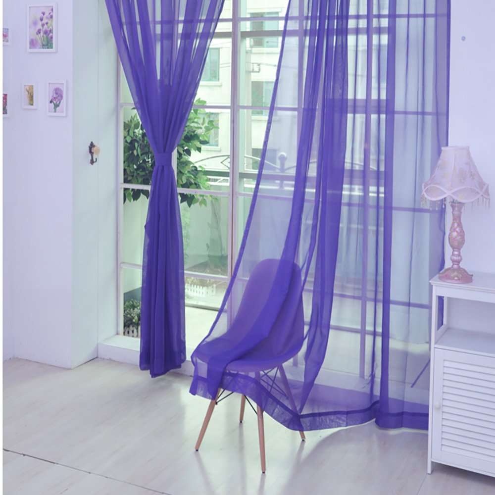 Window Curtain Drapes Scarf Decor,Quaanti Clearance Sale!Window Curtain,1 PC Pure Color Tulle Door Window Curtain Drape Sheer Sunblind 78.7 inch Long for Bedroom&Living Room& Kitchen (I)