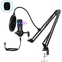 Innoo Tech PC Microphone, USB Condenser Microphone, Professional Recording Plug and Play Microphone Kit with Stand for…