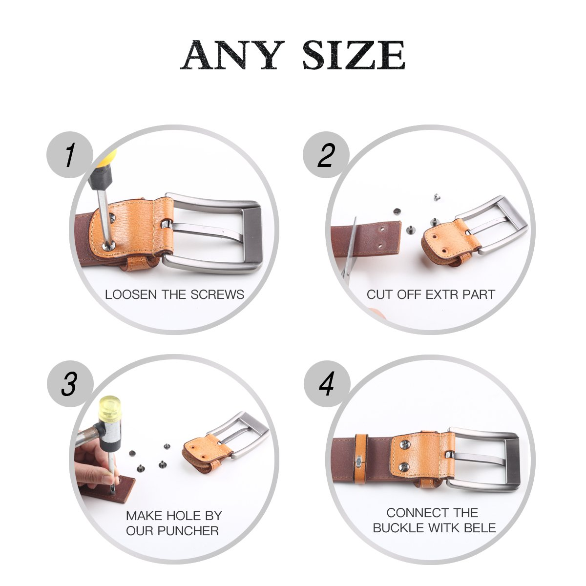 Leathario ceinture en cuir unisexe ceintures cuir veritale pour hommes  ceintures de boucles fixation de aiguille f38867f4839