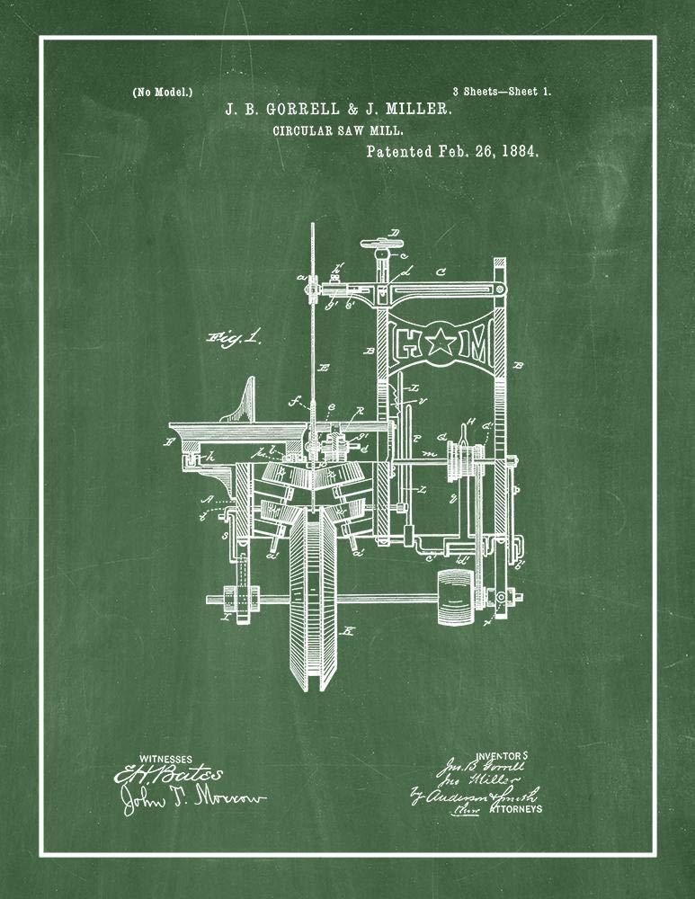 Amazon.com: Circular Saw Mill Patent Print Midnight Blue with Border (11