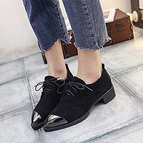 Casual up Footwear Oxfords Decoration Trendy Toe Pointed Metal 2018 Lace Shoes Heel Black Square Fashion Women's SqAp5