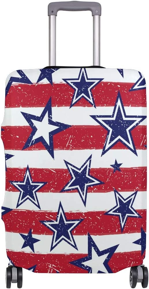 Travel Luggage Cover Blue Star Red White Stripes USA Flag Suitcase Protector