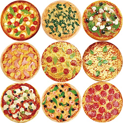 ceiba tree Pizza Stickers 200Pcs Roll Sticker for Party Supply Classroom Reward Sticker