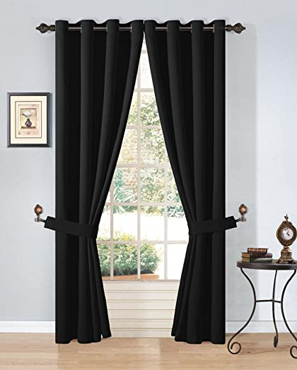 Cozy Beddings Gromment Blackout Thermal Insulated Curtain Black Solid Colors 54 W x 84 L Set Pair, 2 Panels
