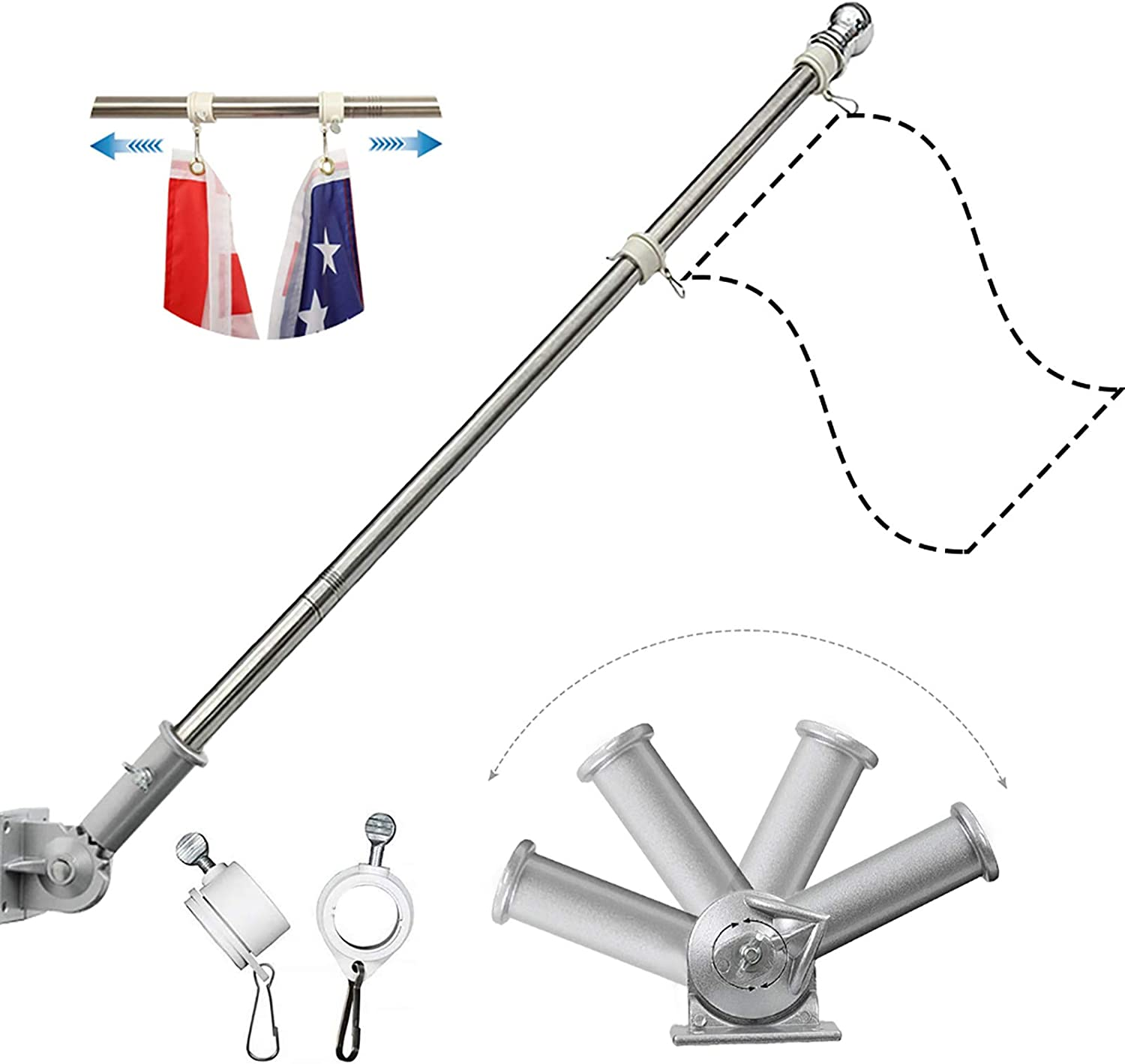 HOME RIGHT Flag Pole Bracket,5FT/6FT/7FT Stainless Steel Flagpole with Rotating Rings Flag Pole kit for Residential and Garden(Adjustable Base with Silver and White)