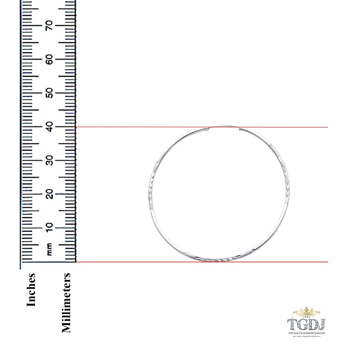 40mm Diameter 14k White Gold 2mm Thickness Endless Diamond Cut Hoop Earrings