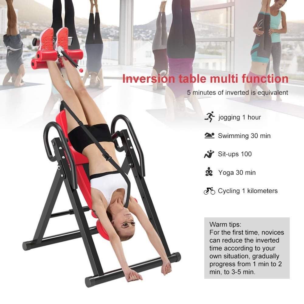 Yoleo Gravity Heavy Duty Inversion Table with Adjustable Headrest & Protective Belt (Red) by Yoleo (Image #3)