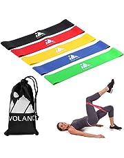 EVOLAND Elastici da Pilates Elastiche Fitness Set di 5 Banda Elastica Fasce Resistenza per Fitness Yoga Crossfit