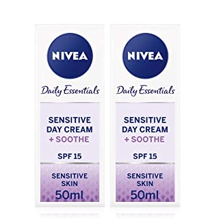 NIVEA Daily Essentials Sensitive Day Cream with SPF 15 50ml Pack of 2