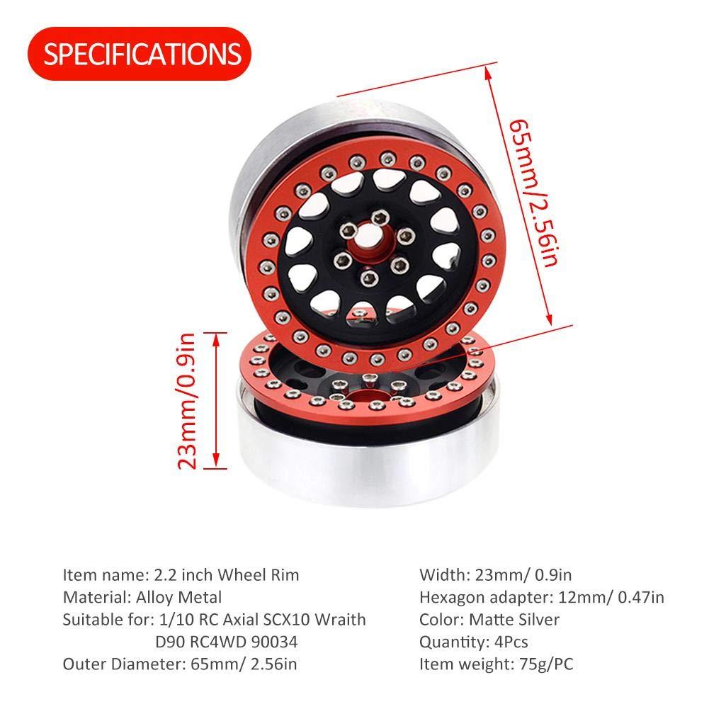 Ksruee 4 PCS 2.2Beadlock Roue Alliage en Aluminium Jante Arbre Compatible pour 1//10 RC Axial SCX10 Wraith D90 RC4WD 90034