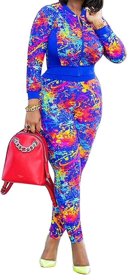 YYG Womens 2 PCS Long Sleeve Tie Dyed Full Zip Club Jumpsuit Romper