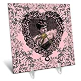 3dRose Russ Billington Designs - Victoriana- Lady in Heart Shaped Frame in Pink Black and Gray - 6x6 Desk Clock (dc_291568_1)
