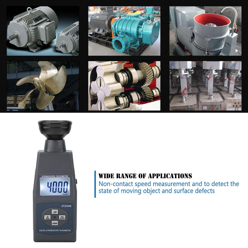 Digital Flash Tachometer,Portable Stroboscope Flash,60-40,000rpm,On-Contact Speed Measurement,Anti Interference,to Detect The State of Moving Object and Surface Defects