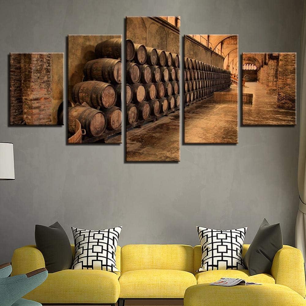 Decorazione della casa soggiorno quadri astratti moderni opera darte 5 pannelli botte di vino stampe su tela poster parete immagine modulare decorazione dinterni soggiorno moderno pittura astratt
