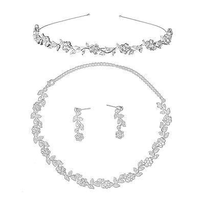 06bc3510e0c7 LEORX Diamantes de Imitación Boda Nupcial Decoración Joyas Set Tiara Collar  Pendientes (Plata)