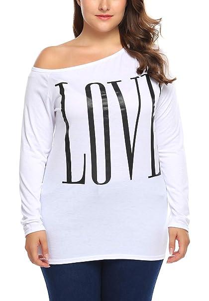 db2c7fae327 Zeagoo Women One Shoulder Long Sleeve Letter Print Casual T-Shirt Tops Plus  Size White