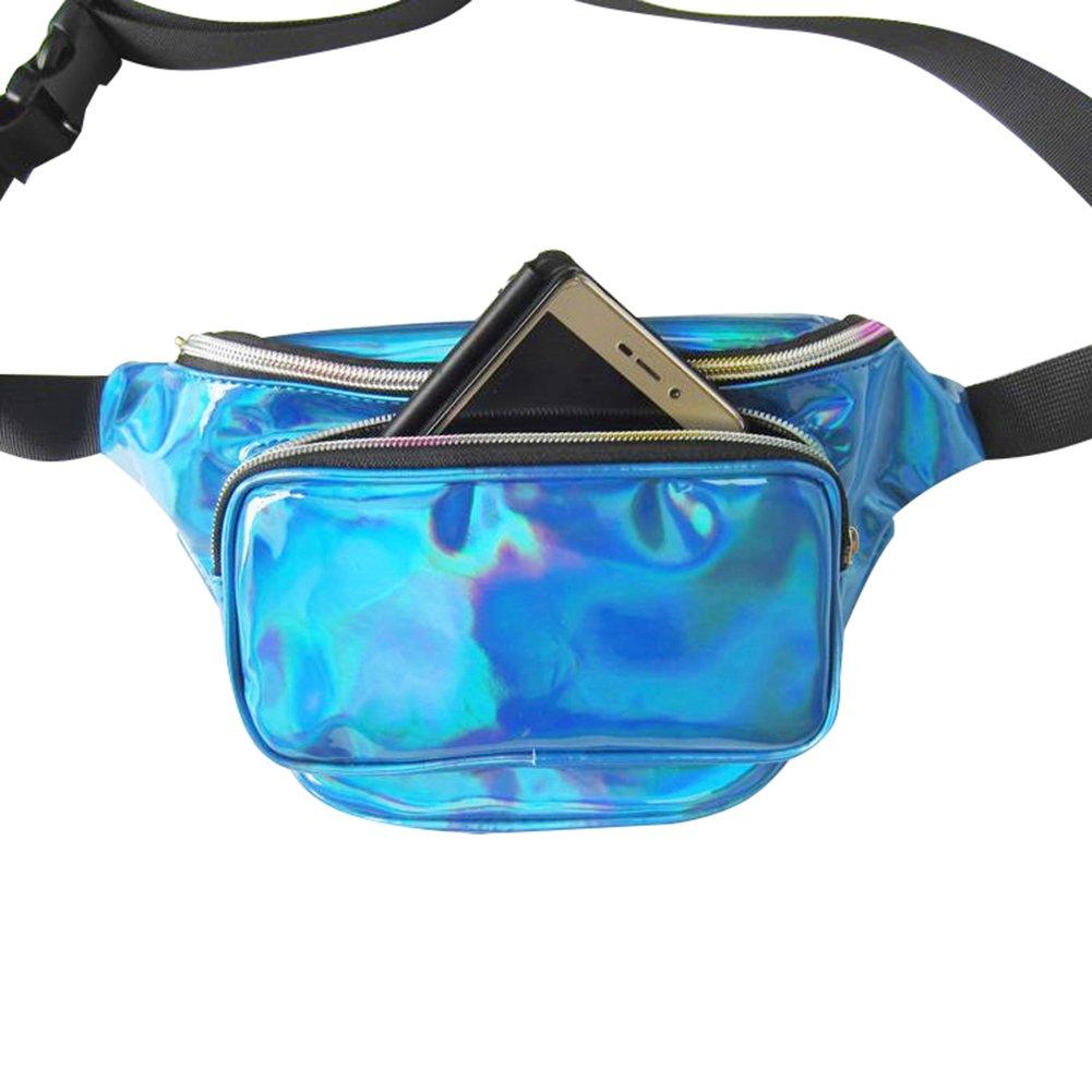 Surenhap Bolsa De Ri/ñonera de Ne/ón Brillante Resistente al Agua para Mujeres Rave Fiesta Holograma Bum Recorrido Paquete de la Cintura