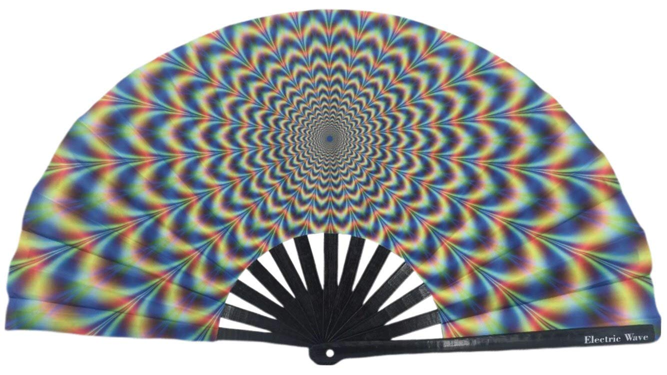 Electric Wave Large Folding Hand Fan | Premium Trippy Rave Fans | EDM Festival Accessories | Dance Fans | Japanese Bamboo and Cloth | Weatherproof | 100% | by Electric Wave