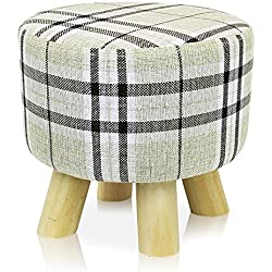 DL furniture - Round Ottoman Foot Stool, Tri Leg Stands Round Shape | Linen Fabric, Stripped Cover